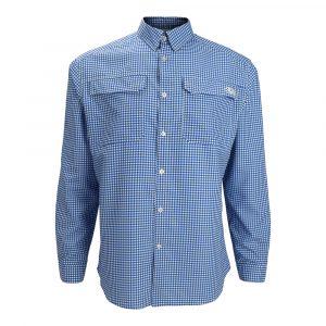 Blue Gingham Long Sleeve Fishing Shirt
