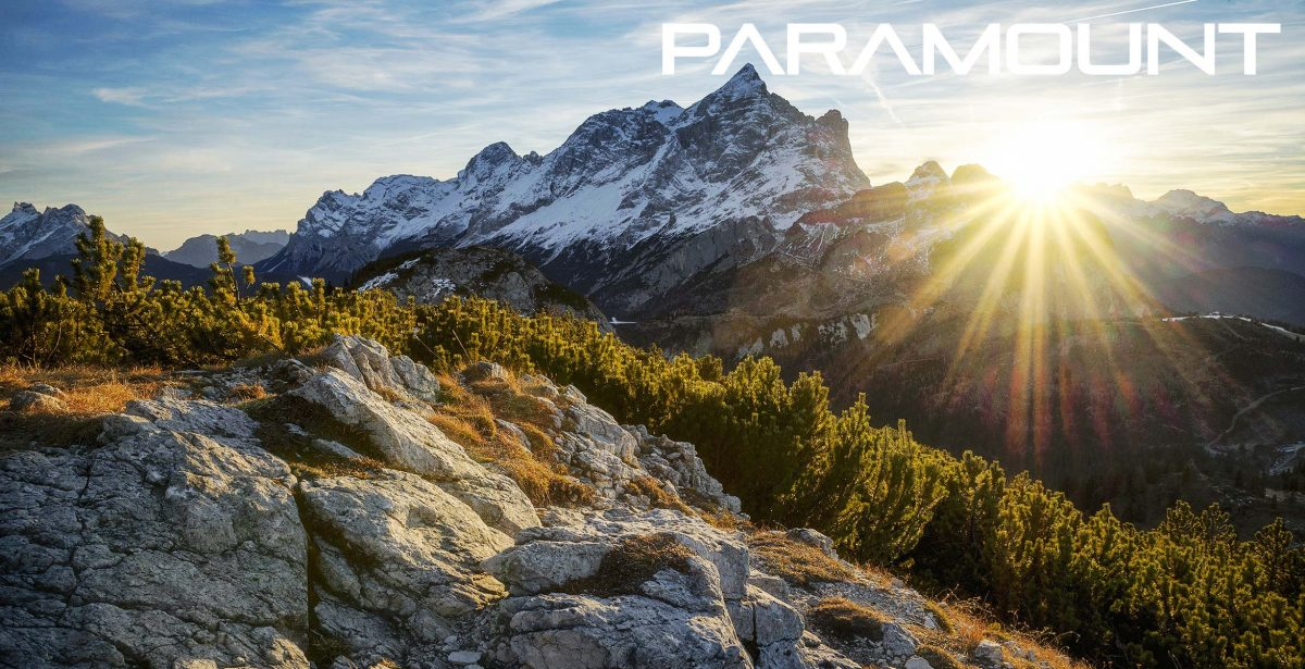 mountain scape with Paramount Outdoors logo