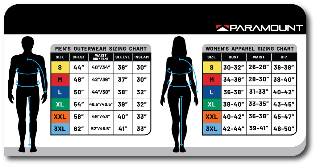 size charts for mens and womens apparel for Paramount Outdoors