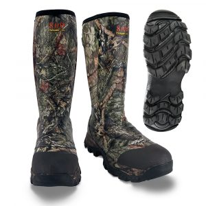 camo rubber boot 1 front quarter view with outsole