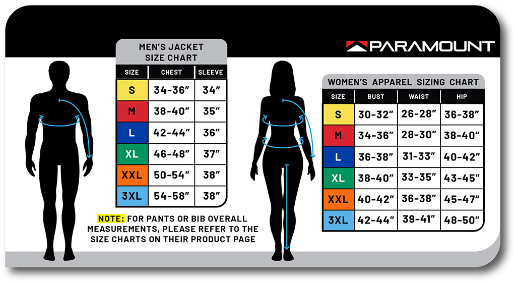 Male and Female Sizing Chart